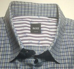 Hugo Boss plaid casual long sleeve shirt Large